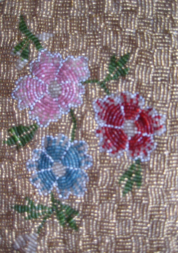 ANTIQUE HAND BEADED PANELS-  2 VINTAGE FABRIC SWATCH TEXTILE EMBROIDERY – GOLD SEED BEAD FLOWER ON LINEN