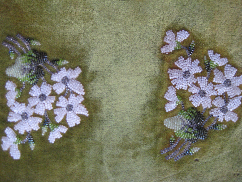 ANTIQUE HAND BEADED PANEL- VINTAGE FABRIC SWATCH TEXTILE EMBROIDERY – FLOWERS ON VELVET