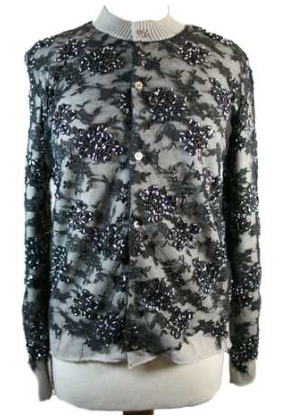 COMME DES GARCONS JUNYA WATANABE LACE & CRYSTAL CARDIGAN SWEATER- SIZE M - FALL 2002