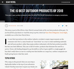 Gear Patrol: Best Outdoor Products of 2018