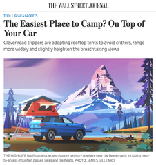 Tepui Press- Wall Street Journal: The Easiest Place to Camp? On Top of Your Car