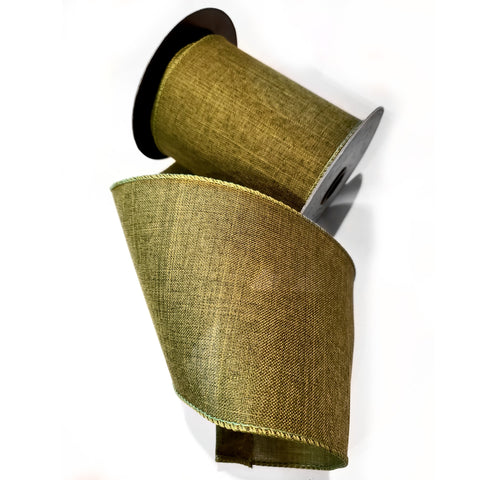 "Faux Linen Ribbon - Color Basil  4""x10yd"