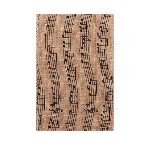 "Linen Glitter Black Music Notes Ribbon - 4""×10yd"