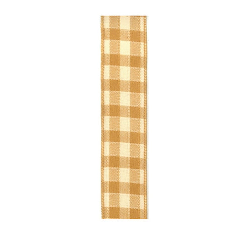 "Pique Check Yellow & Wheat Ribbon - 1.5""x10yd"
