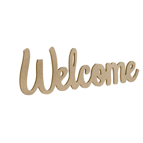 """Welcome"" Natural Sign – 17.75″L x 6″H"