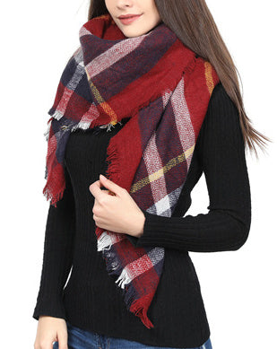 Blanket Scarf - Burgundy Mix