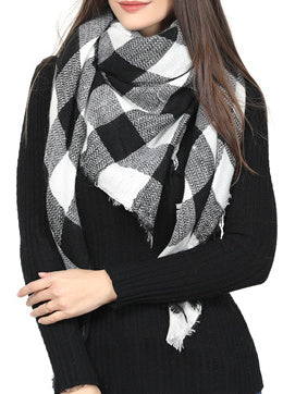 Blanket Scarf - black/white checker