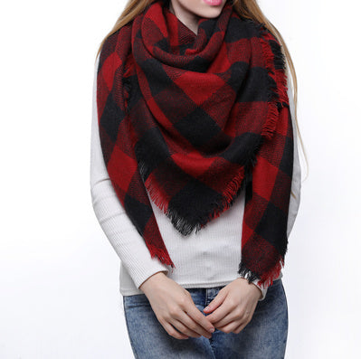 Blanket Scarf - Red/Black Plaid