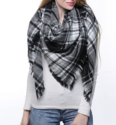 Blanket Scarf - Black/White/Hunter Green