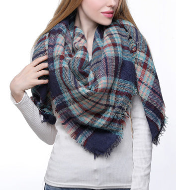 Blanket Scarf - Navy Mix Plaid