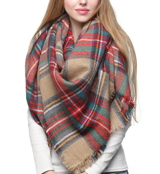 Blanket Scarf - Camel/Red Mix