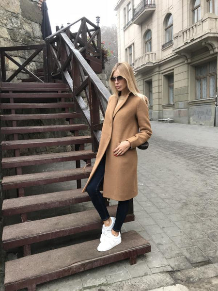 Mid-Length Coat - Camel