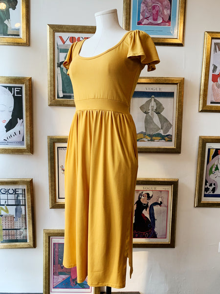 King West Flutter Sleeve Dress - Mustard