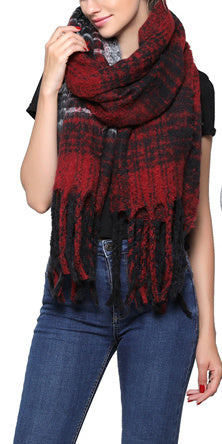 Fashion Scarf - Red/Black Plaid