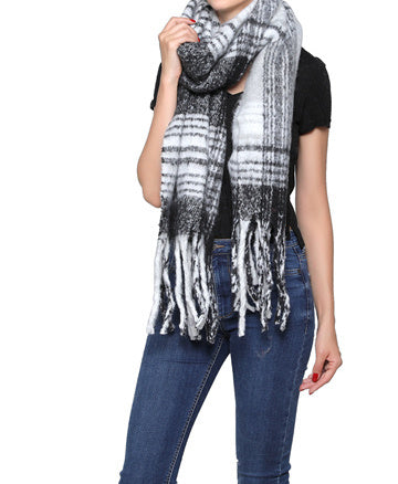Fashion Scarf - Black/white/grey Plaid