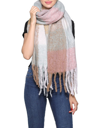 Fashion Scarf - Camel/Pink Pastel Mix