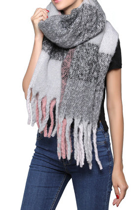 Fashion Scarf - Pastel Grey/Pink Mix