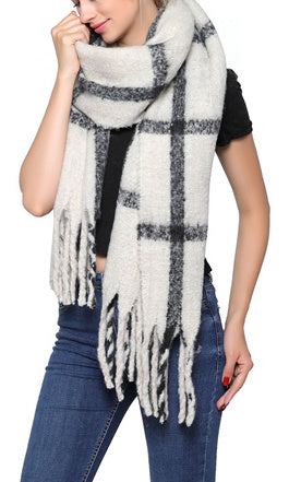 Fashion Scarf - Cream/black