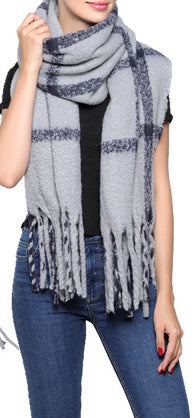 Fashion Scarf - Grey/Navy