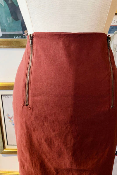 Double Zipper Pencil Skirt - Rusty Red