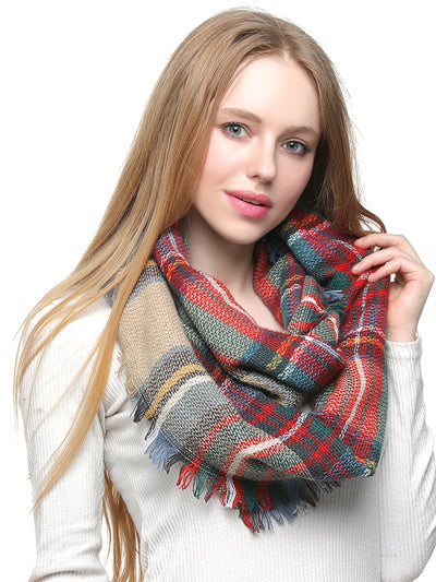 Woven Eternity Scarf - Camel/Red