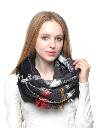 Woven Eternity Scarf - Black Mix