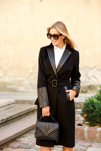 Wool with Leather Coat - Black