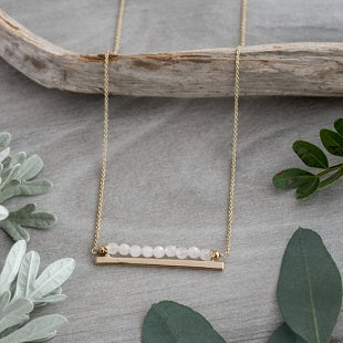 Horizon Necklace - Gold/Rose Quartz
