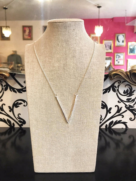 V necklace - Silver Plated