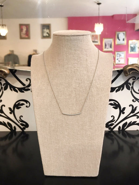 Curved Bar Necklace - Matte Silver Plated