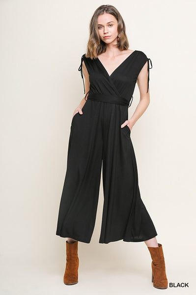 V Neck Jersey Knit Jumpsuit - Black