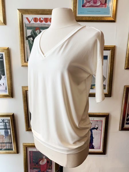 V-Neck Slouch Top - Cream
