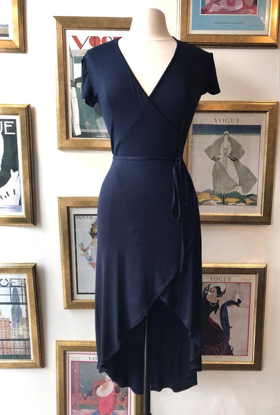 Hi-low Wrap Dress- Navy