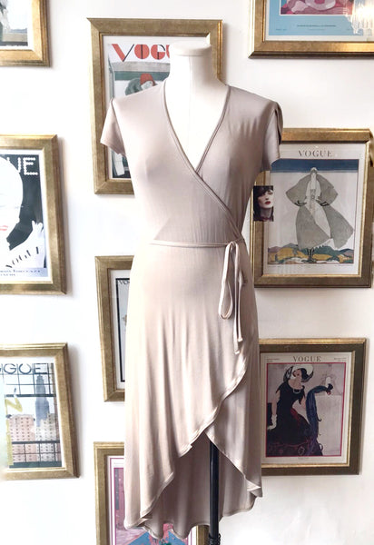 Hi-low Wrap Dress - Taupe