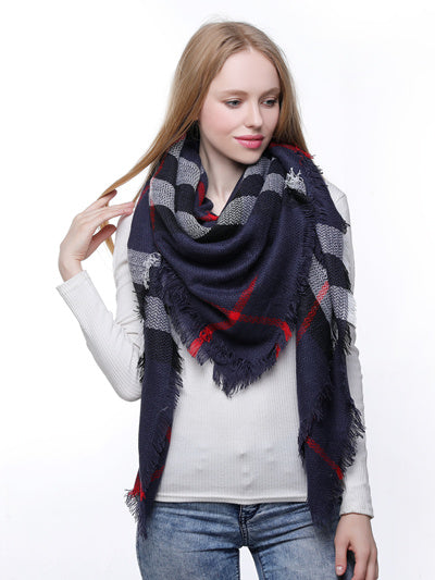 Blanket Scarf - Navy/Red Mix