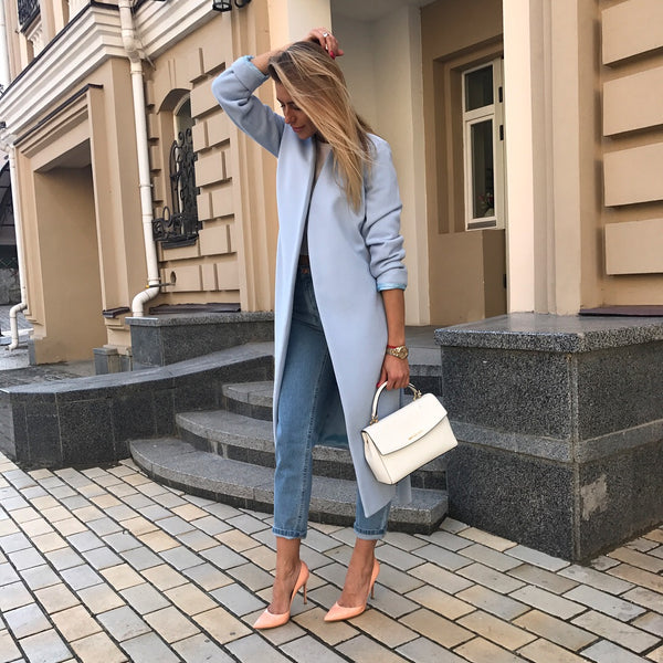 V-Neck Wrap Coat - Baby Blue