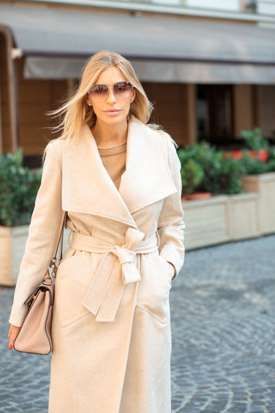 Wide Collared Wrap Coat - Deep Cream