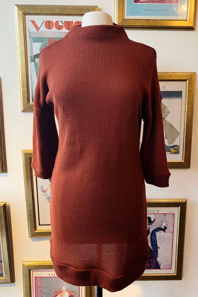 Knitted Sweater Dress - Rusty Red