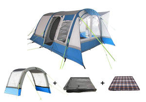 The Cocoon Package Includes Awning in Blue / Grey , Awning Extension , Carpet and Footprint Groundsheet Camper van Awning Camper Van Awning Bundle
