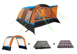 The Cocoon Package Includes Awning in Orange / Black , Awning Extension , Carpet and Footprint Groundsheet Pre-Order Camper van Awning Camper Van Awning Bundle