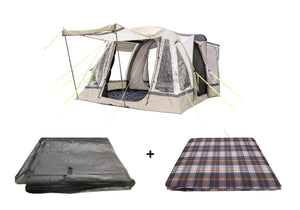 Loopo Breeze Sage Awning Package, Awning, Footprint Groundsheet & Carpet Camper van Awning OLPRO