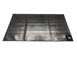 Awning Tunnel Mat 1500mm x 800mm Black Rubber checker board with Blue Edge Trim Campervan Mats OLPRO