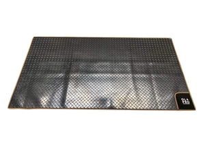Awning Tunnel Mat 1500mm x 800mm Black Rubber checker board with Orange Edge Trim Campervan Mats OLPRO