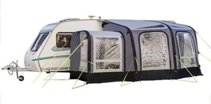 View 300 Caravan Inflatable Porch Awning With Porch Extension Caravan Awning Grey & Black