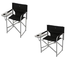 2 x Director's Chair With Side Table Black Seal Grey Furniture OLPRO