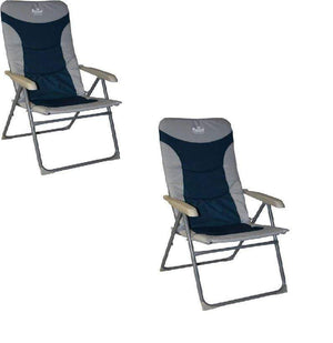 2 x Royal Colonel High Back Padded Camping Caravan Chair Blue Silver Furniture OLPRO
