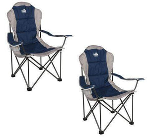 2 X ROYAL PRESIDENT PADDED CAMPING CHAIR - BLUE / SILVER Furniture OLPRO