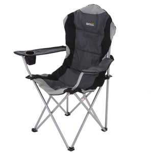 Kruza Padded Folding Camping Chair With Storage Bag Black Seal Grey Furniture OLPRO