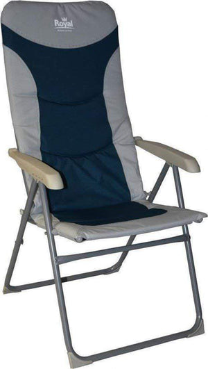 Royal Colonel High Back Padded Camping Beach Caravan Chair Blue Silver Furniture OLPRO
