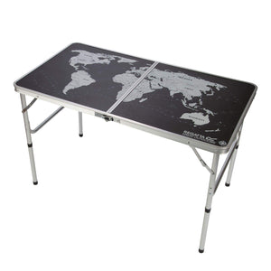 World Map Folding Games Table Black Silver Furniture OLPRO